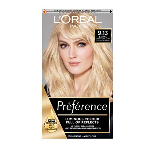L'Oreal Preference Infinia 9.13 baikal very light ashy golden blonde Blonde Hair Dye from L'Oreal