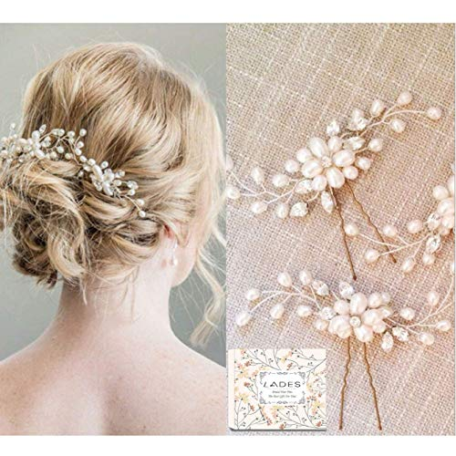Bridal Hair Pins - 3pcs Fashion Retro Elegant Ladies Pearl Rhinestone Hair Accessories for Wedding Bridal Jewelry Bridal Hair Accessories Headpiece Wedding Accessories (3PCS) from LADES