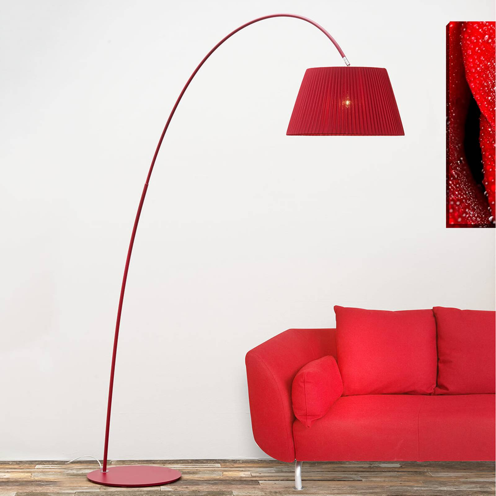 Marion arched floor lamp in red from Lam