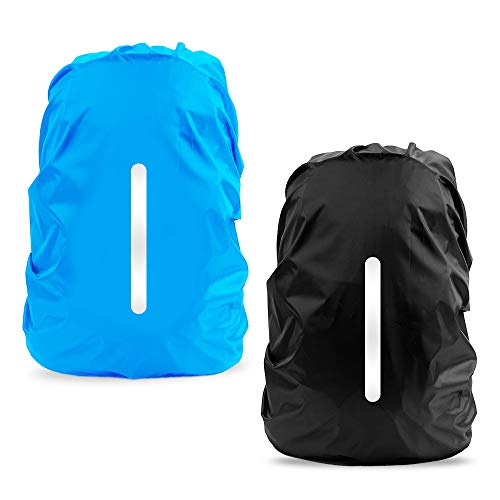 Waterproof Rain Cover for Backpack, LAMA 2 Pack Bag Rain Cover Reflective Rucksack Rain Cover for Anti-dust/Anti-Theft/Bicycling/Hiking/Camping/Traveling/Outdoor Activities L 45L-55L Black Blue from LAMA