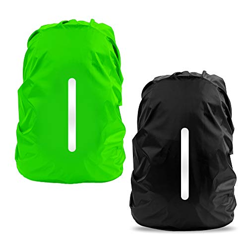 LAMA 2pcs Waterproof Rain Cover for Backpack, Reflective Rainproof Protector for Anti-dust and Anti-Theft M 30L-40L Black Green from LAMA