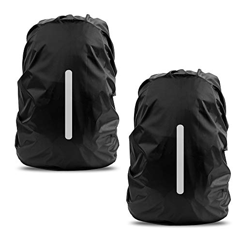 Waterproof Rain Cover for Backpack, LAMA 2 Pack Bag Rain Cover Reflective Rucksack Rain Cover for Anti-dust/Anti-Theft/Bicycling/Hiking/Camping/Traveling/Outdoor Activities S 25L-29L Black from LAMA