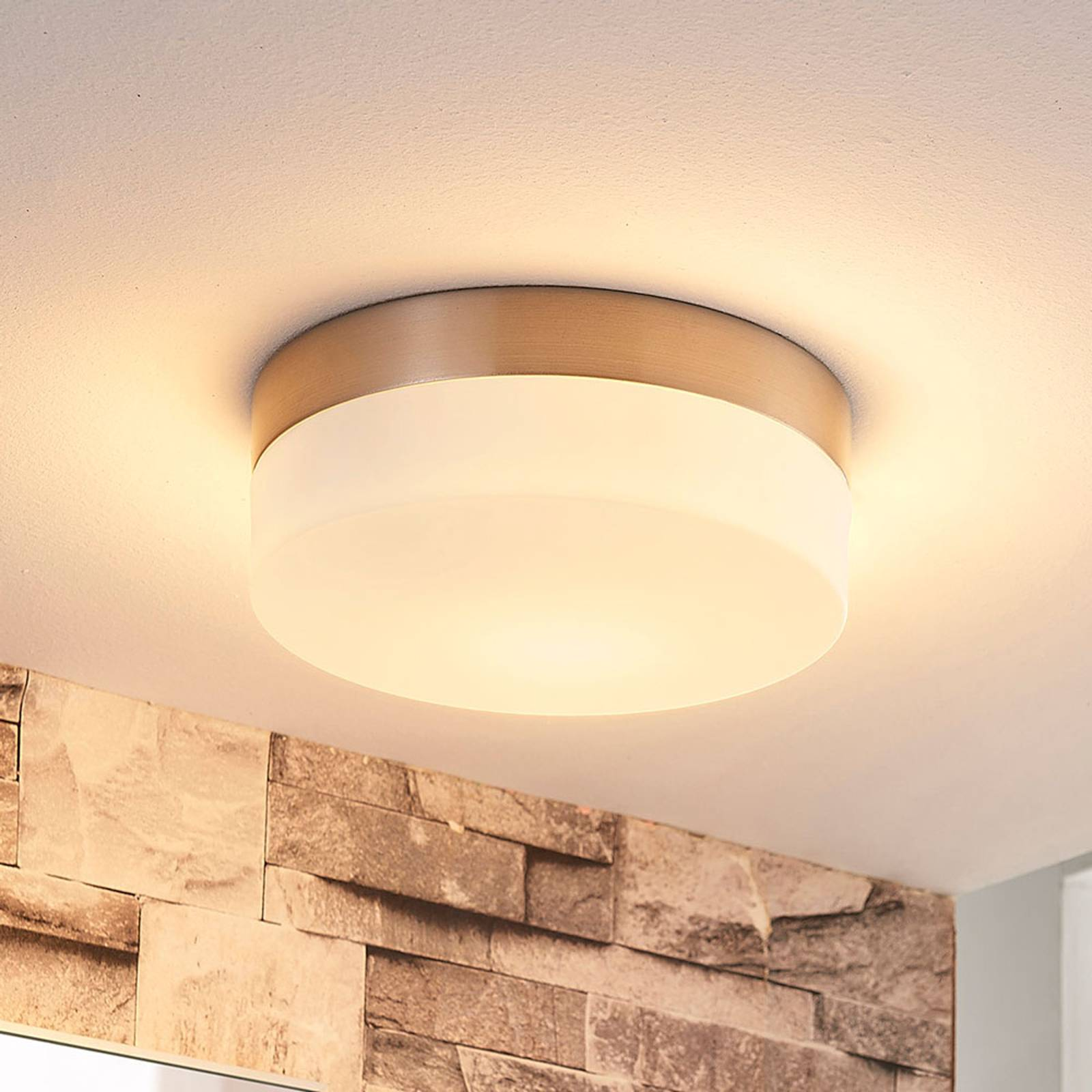 Amilia bathroom ceiling light with glass lampshade from Lindby