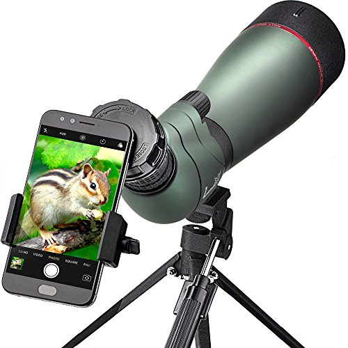 Landove Waterproof Spotting Scope- Prism Scope for Birdwatching Target Shooting Archery Outdoor Activities -with Tripod & Digiscoping Adapter-Get the Beauty into Screen (80mm spotting scope) from LANDOVE