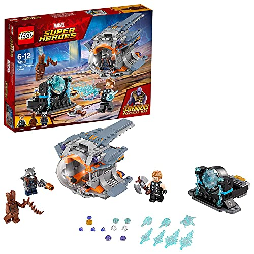 LEGO 76102 Marvel Avengers Infinity War Thor's Weapon Quest Playset, Thor Rocket and Groot Figures, Build and Play Superhero Toys for Kids from LEGO