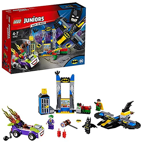 LEGO 10753 Juniors The Joker Toy Batcave Attack Playset, Batman Joker and Robin Minifigures, Superhero Toy for Kids 4-7 from LEGO