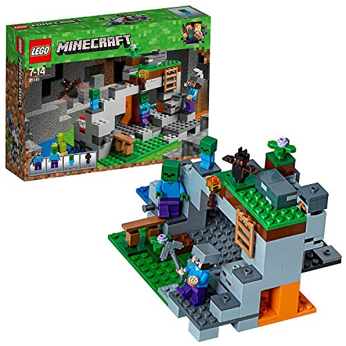 LEGO 21141 Minecraft The Zombie Cave Adventures Building Set with Steve, Zombie and Baby Zombie Minifigures Toy for Kids from LEGO