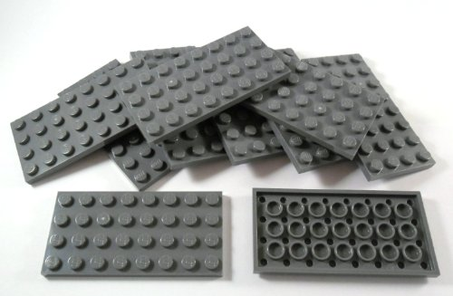 "10 piece LEGO ""plate 4x8 studs"" in New-dark gray. from LEGO"