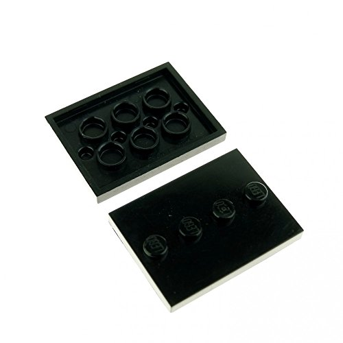 LEGO 2 x System Building Plate Black 3 x 4 Tile with 4 knobs in the middle Figure Base Stand 88646 from LEGO