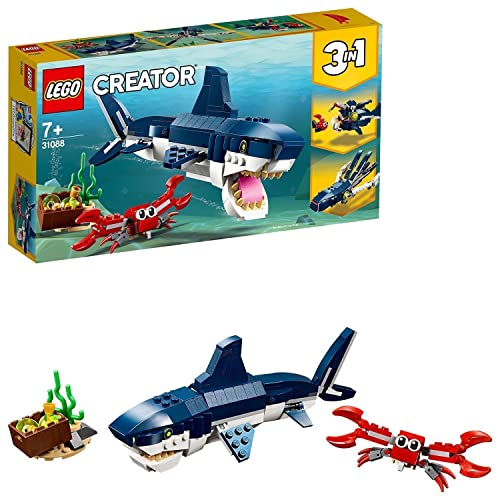 LEGO 31088 Creator 3in1 Deep Sea Creatures Shark, Crab and Squid or Angler Fish, Seaside Adventures Building Set, Toys for Kids 7 Years Old and Older from LEGO