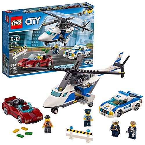 LEGO 60138 City Police High Speed Chase Playset, Toy Helicopter and Sports Car, Police Sets for Kids from LEGO