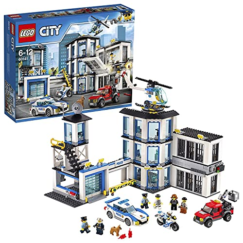 LEGO 60141 City Police Station Building Set, Toy Helicopter Car and Motorbike, Police Toys from LEGO