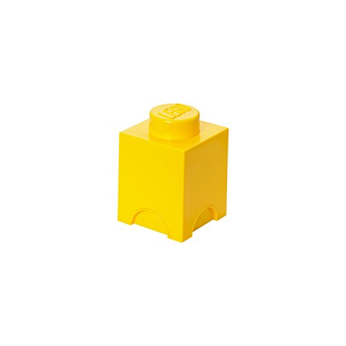 LEGO Brick 1 Knob Stackable Storage Box, Bright Yellow, 1.2 Litre from Room Copenhagen