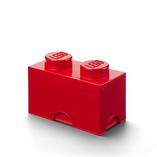 LEGO Brick 2 Knobs Stackable Storage Box, Bright Red, 2.6 Litre from LEGO
