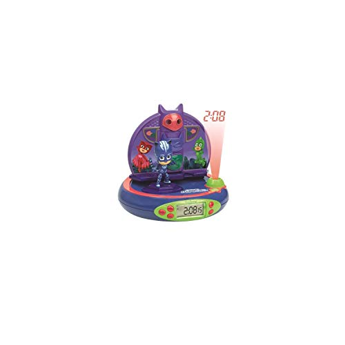 Lexibook PJ Masks Catboy Projector Radio clock, built-in night light, time projection onto the ceiling, sound effects, battery-powered, Blue/Purple, RP500PJM from LEXIBOOK