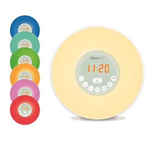 Lexibook Decotech Sunrise colour alarm clock, wake-up light, FM radio, bedside lamp, sunrise and sunset simulation, 6 natural sounds, snooze, night light, RL998 from Decotech