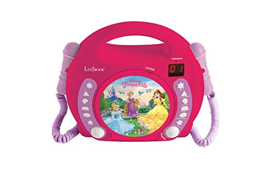 Lexibook Disney Princess Rapunzel CD player for kids with 2 toy microphones, headphones jack, with batteries, pink, RCDK100DP from LEXIBOOK