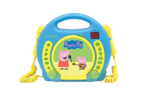 Lexibook Peppa Pig Georges CD player for kids with 2 toy microphones, headphones jack, blue, RCDK100PP from LEXIBOOK