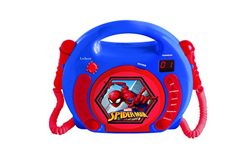 Lexibook Marvel Spider-Man Peter Parker CD player for kids with 2 toy microphones, headphones jack, with batteries, blue, RCDK100SP from LEXIBOOK