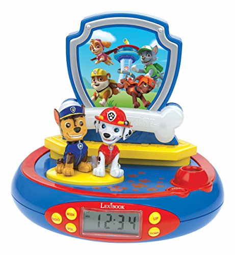 Lexibook Paw Patrol Chase Projector Radio clock, built-in night light, time projection onto the ceiling, sound effects, battery-powered, Blue/Red, RP500PA from LEXIBOOK