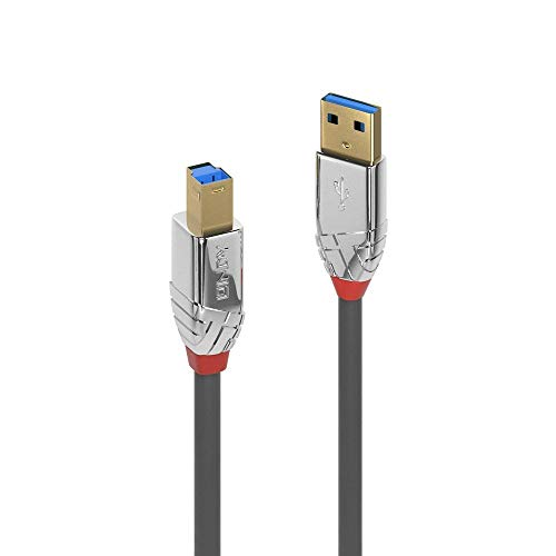 LINDY 36663 USB 3.0 Type A to B Cable, Cromo Line - Grey, 3m from LINDY