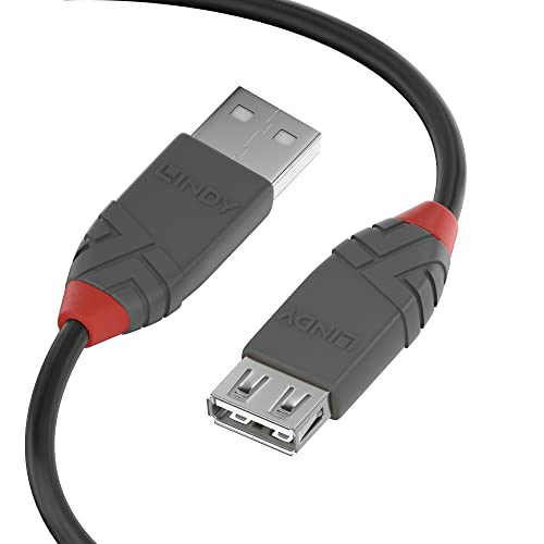 LINDY 36702 USB 2.0 Type A Extension Cable, Anthra Line - Black, 1m from LINDY