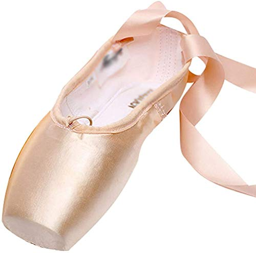 LINNUO Ballet Pointe Shoes Satin Ballet Shoes for Girls with Toe Pads Ballet Ribbon and Pointe Shoes Elastic from LINNUO