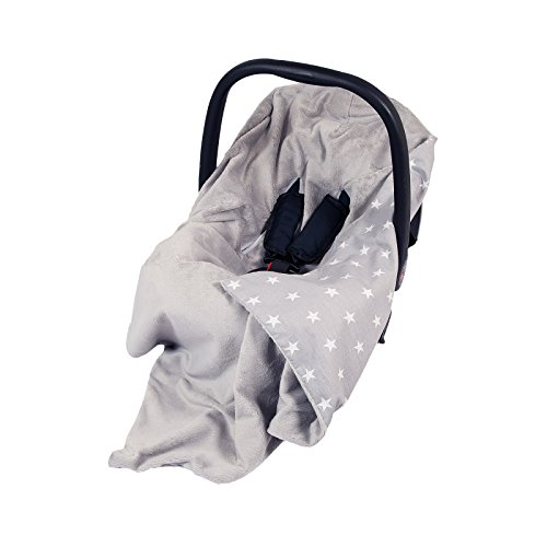 NEW DOUBLE-SIDED BABY WRAP FOR CAR SEAT/BABY TRAVEL WRAP/BABY CAR SEAT BLANKET - GREY/GREY WITH WHITE STARS WRAP/BLANKET / COVER/COSYTOES - FOOTMUFF! 100x100cm - WRAP WITH SEAT BELT HOLES from me baby