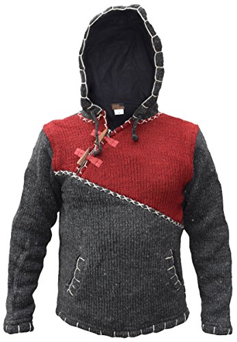 0150019a44c154 Cross Zip Natural Woolen Winter Festival Knitted Jumper Jacket Hoodie  Maroon Charcoal Mix X-Large