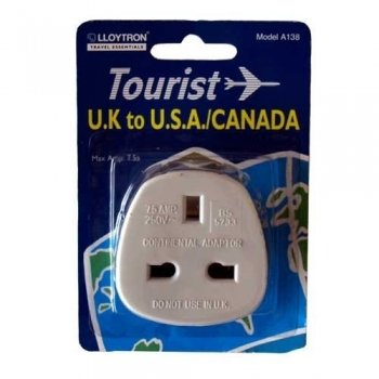 UK To USA 3 Pin To 2 Pin Travel Adaptor from LLOYTRON