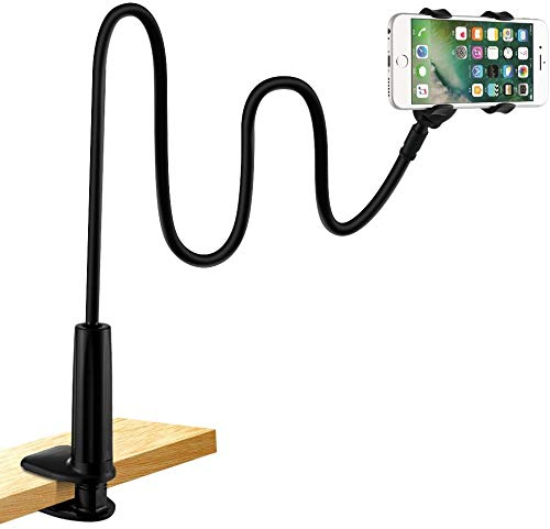 Cell Phone Holder, Lonzoth Universal Phone Holder Clip Lazy Bracket Flexible Gooseneck Clamp Long Arms Mount for iPhone 6 plus/6/5s/SE/5/4S/4, GPS Devices, Fit On Desktop Bed Mobile Stand for Bedroom, Office, Bathroom, Kitchen, etc(FOR PHONE|BLACK) from LONZOTH