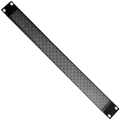 "19"" 1U Ventilated Mesh Blanking Rack Patch Panel - Vented Equipment Data Cabinet Module Plate Mount - Black Metal Cooling Empty Unit Cover & Fixing Screws from Loops"