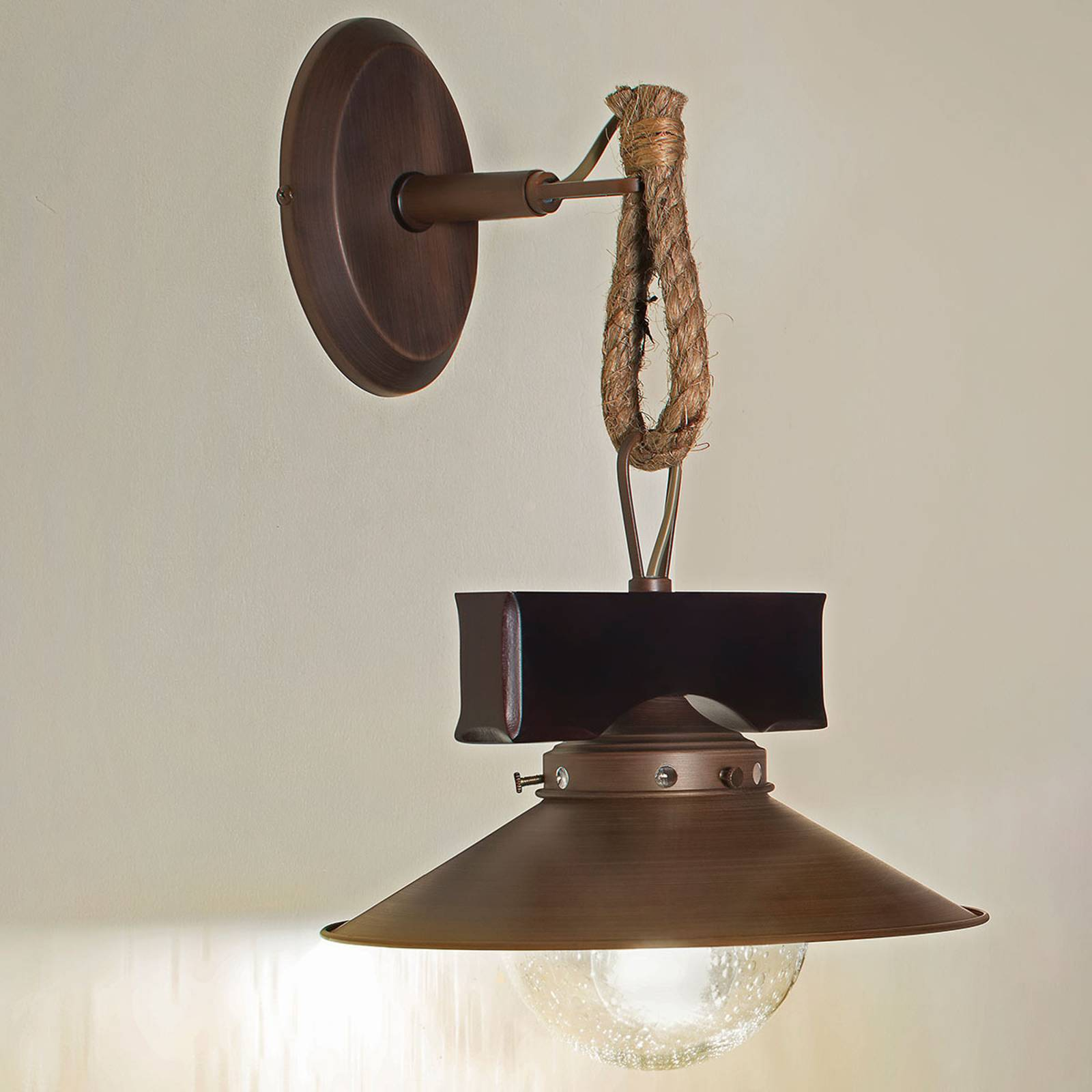 Rustic Nudos wall light with a mix of materials from FARO BARCELONA