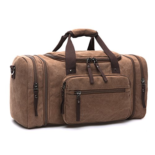 LOSMILE Large Travel Duffles,Holdall Travel Bags Weekend Bag Overnight Bag Carry On Luggage. (Brown) from LOSMILE