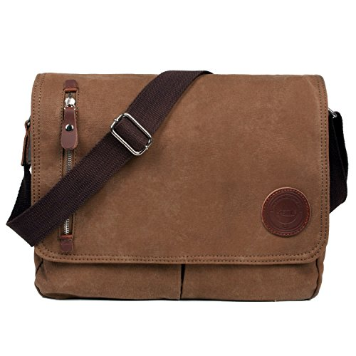 LOSMILE Mens Canvas Messenger Shoulder Bag. (Brown) from LOSMILE