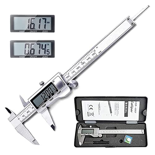 "LOUISWARE Electronic Digital Vernier Caliper, with Extra-Large LCD Screen and 150mm 0-6"" Inch/Metric/Fraction Conversion, Stainless Steel, IP54 Water Resistant from LOUISWARE"