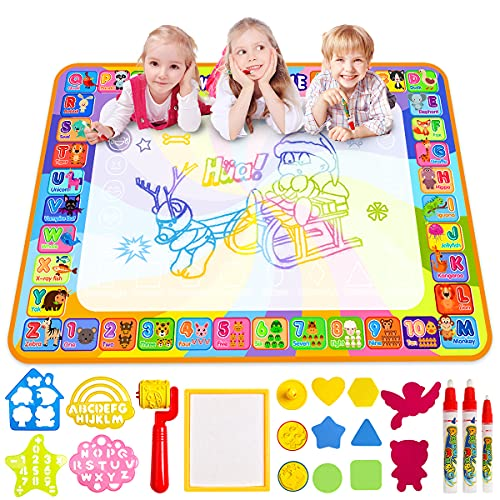 Water Doodle Mat, Larger(39.4 X 27.5 inch) Multicolored No Mess Water Drawing Painting Pad with 3 Magic Pens & 8 Stamps - Best Educational Toy & Xmas Gifts for Boys& Girls Age 2 3 4 5 6+ Years Old from LOYO