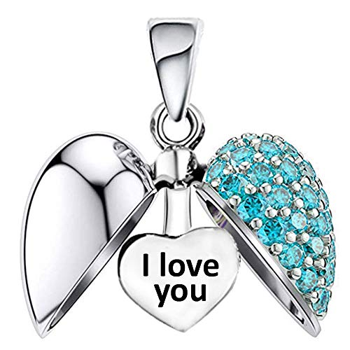 I Love You - Silver Heart Aqua Crystal Charm - Sterling Silver 925 fits Pandora Women's Charms Bracelet Bead - Gift boxed from LSDesigns
