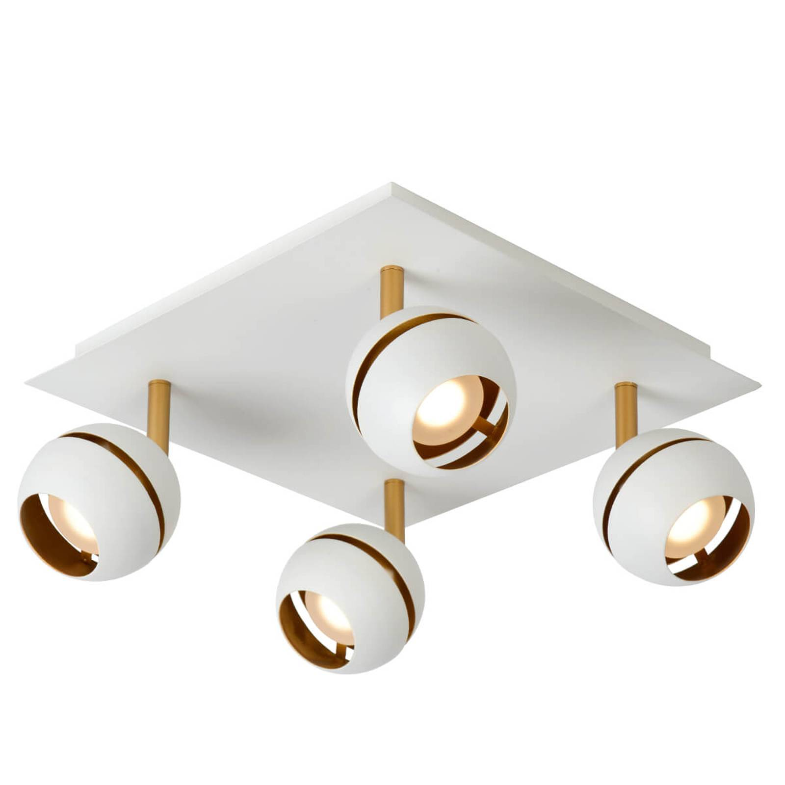 Four-bulb LED ceiling lamp Binari in white from Lucide