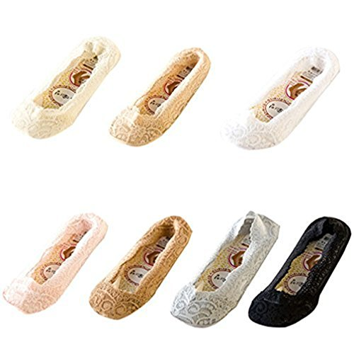 LUOEM 7 Pairs Women's Lace No Show Socks Low Cut Socks with Silicone Back Invisible Socks  Multicolor Medium from LUOEM
