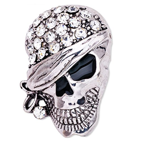 LUOEM Skeleton Brooch Pin Skull Pin Badge Gothic Punk Brooch Gift (Silver) from LUOEM