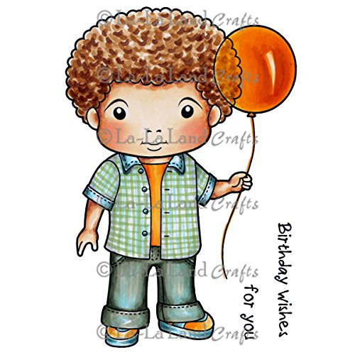 La-La Land Crafts Rubber Cling Stamps 4.5-Inch x 3.5-Inch-Luka with Balloon from La-La Land Crafts