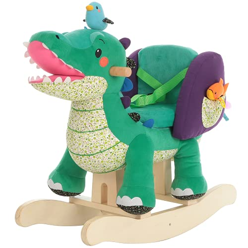 Labebe Baby Rocking Horse Wooden, Plush Rocking Horse Toy, Green Crocodile Rocking Horse for Baby 1-3 Years, Wooden Baby Rocker Chair/Toddler Rocker Chair/Kid Rocker Seat/Soft Rocker Toy/Horse Rocker from Labebe