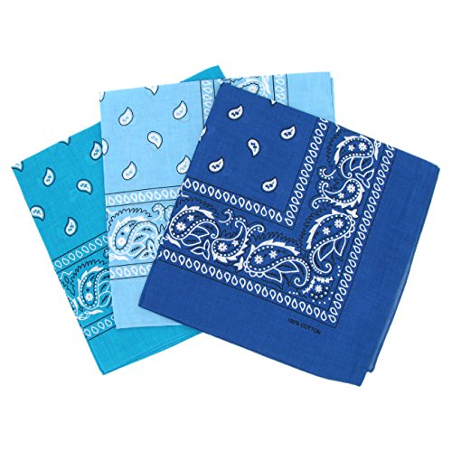 Cotton Paisley Bandana Scarf Headband 3 Pack Turquoise Cyan Blue from Laciteinterdite
