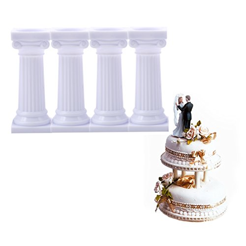 Lalang 4PCS Grecian Pillars Cake Stand Cake Support Rods Party Wedding Cake Decoration (7.5cm) from LALANG