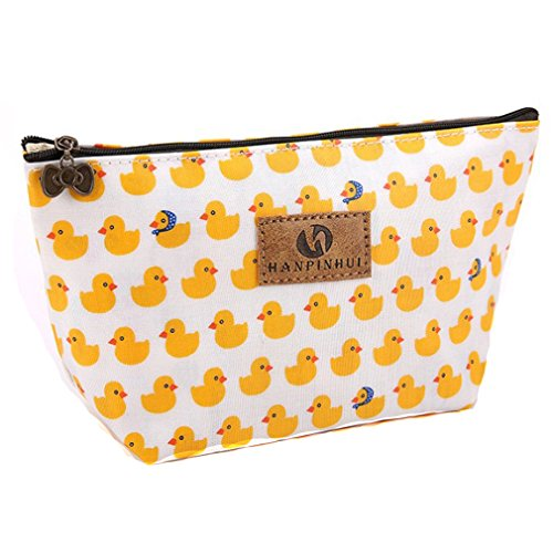 Lalang Women's Make Up Bag Small Cosmetic Pouch Cute Duck Print Wash Bag Toiletry Beauty Organiser from LALANG