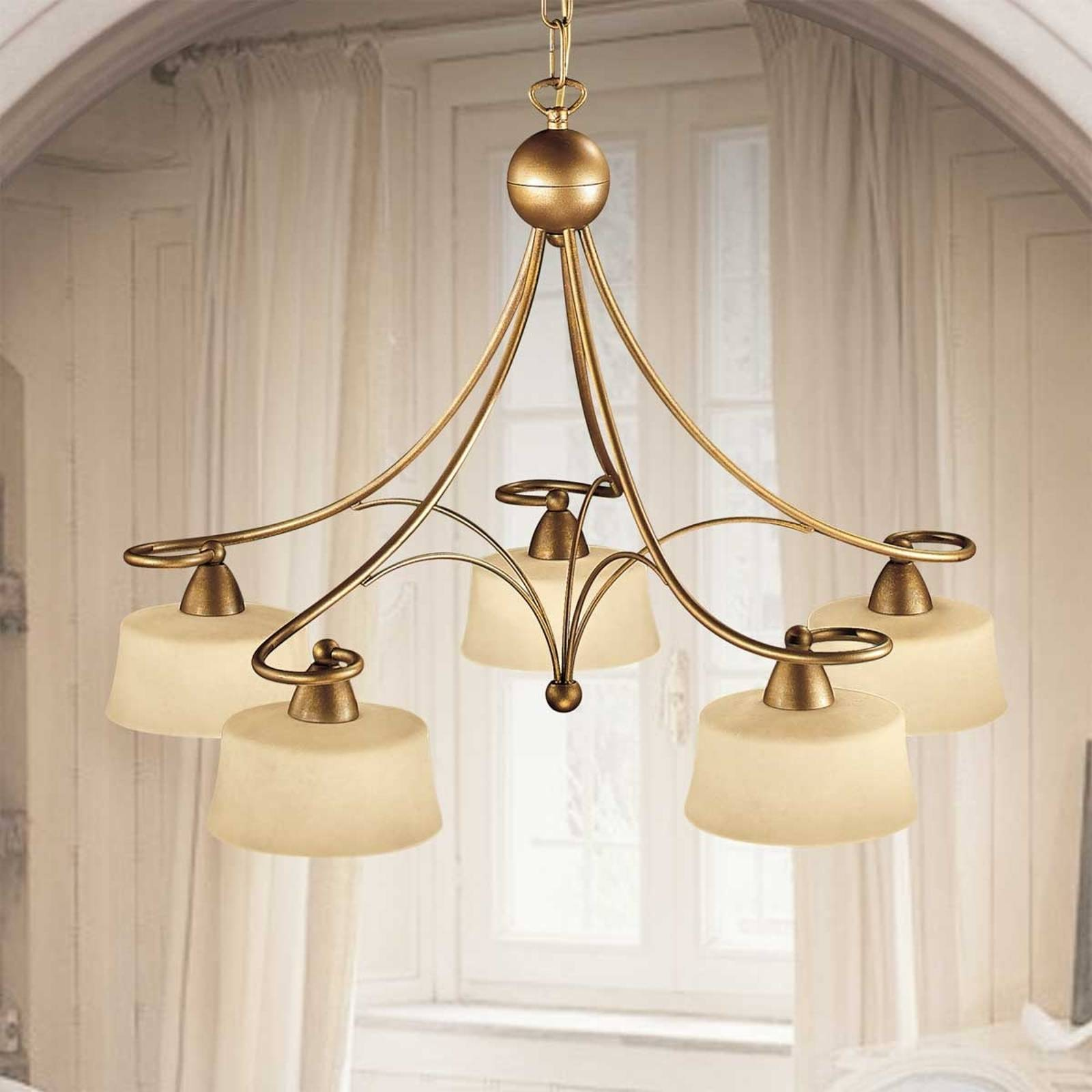 Alessio hanging light, 5 scavo glass lampshades from Lam