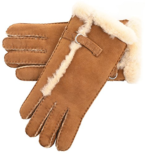 Lambland Ladies Genuine Sheepskin Gloves with Buckle Feature and Wool out Trim in Chestnut Size Small from Lambland