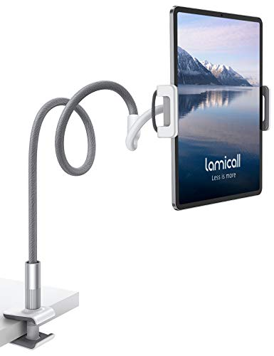 "Lamicall Gooseneck Tablet Holder, Universal Tablet Stand : 360 Flexible Lazy Arm Holder Clamp Mount Bracket Bed for 4.7~10.5"" Pad Air Pro mini, Samsung Tab, Phone, Nintendo Switch, more Devices- Gray from Lamicall"