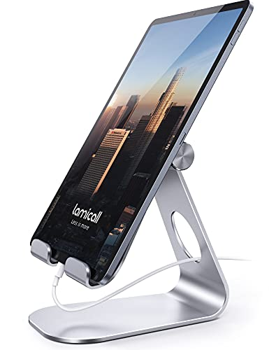 Tablet Stand, Lamicall Adjustable iPad Stand : Desktop Stand Holder Dock for iPad Pro 10.5 / 9.7 / 12.9, iPad mini 2 3 4, iPad Air, Air 2, iPhone X 8 7 Plus, 6s Plus, Nintendo Switch, Samsung Galaxy Tab S7 S8, Fire Tablet, Accessories, Desk, other Tablets - Silver from Lamicall